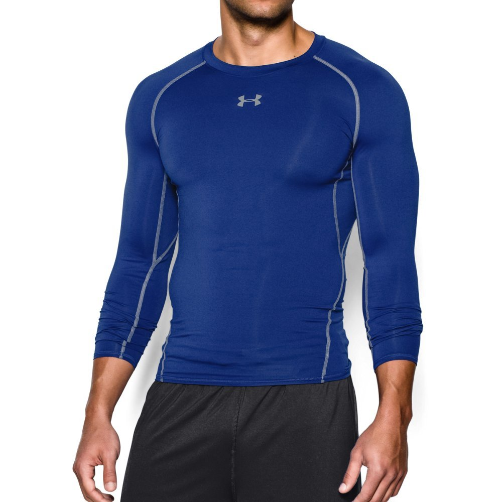 Under Armour Men's HeatGear Long Sleeve Compression Shirt, Royal (400)/Steel Small