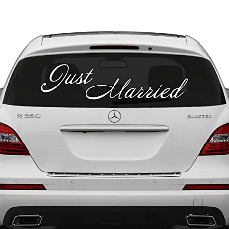 50x17 cm just married vinyl car decal design wedding cling banner decoration quote sticker decals back car window mirror free random decal gift