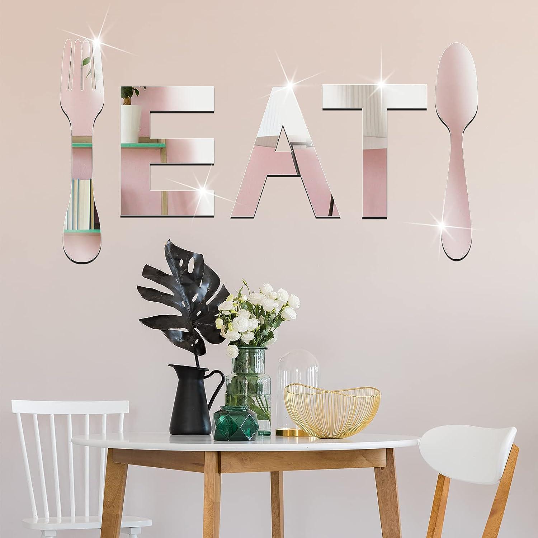 Eat Sign 3D Acrylic Mirror Wall Decor Sticker Fork and Spoon Wall Decor Eat Acrylic Decorative Mirror Wall Decal Sticker 3D Mirror Wall Decals Removable DIY Mirror Wall Decal Sticker for Home Kitchen