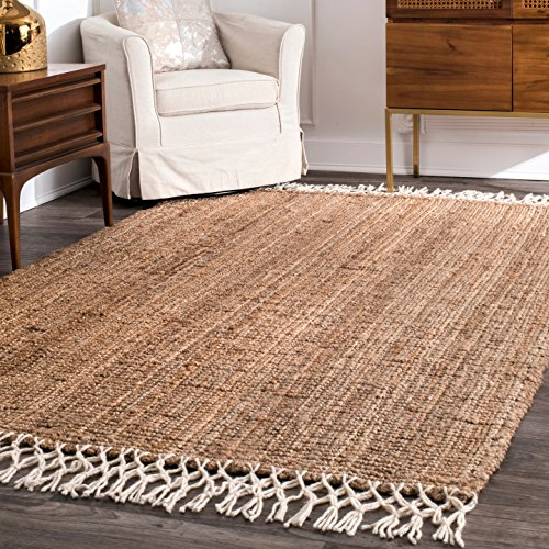 nuLOOM NCNT24A Handwoven Raleigh Wool Rug, 8' x 10', Natural