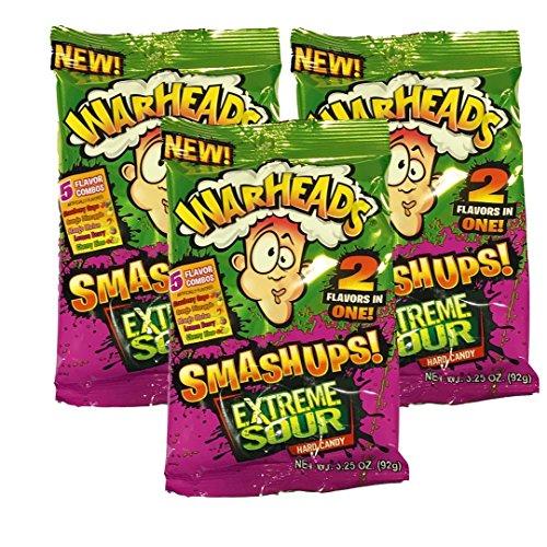 Warheads Extreme Sour Smashups Hard Candy 3.25oz Bag (Pack of - Candy Hard Warheads Sour