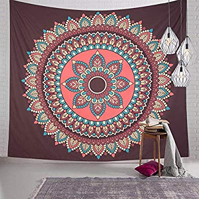 SENYYI Mandala Flower Tapestry Like Peacock Tail, Colorful Bohemian Tapestry Indian Hippie Tapestry for Room (51.2 x 59.1 inches)