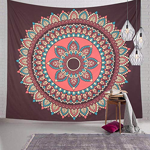 SENYYI Mandala Flower Tapestry Like Peacock Tail, Colorful Bohemian Tapestry Indian Hippie Tapestry for Room (51.2 x 59.1 inches) (Coral Hanging Wall)