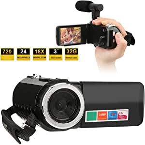 Tosuny Digital Camcorder Portable 3 inch LCD Screen Video Camera 18X Digital Zoom HD Camcorder YouTube Vlogging Camera(with Microphone)