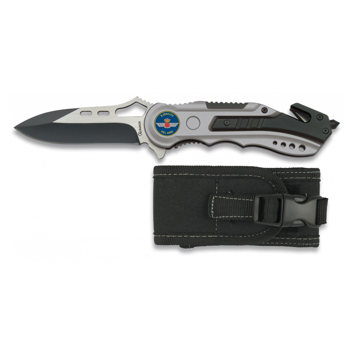 Albainox Army Air Folding Knife Spain Aluminum Handle Aluminum 8.1 Inch Stainless Steel Blade Cuter Seat Belt, Splitter Tip And Case 19461gr1016