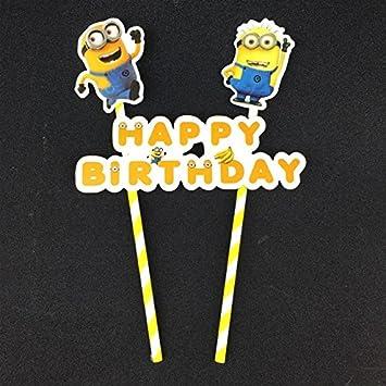 Surprising Minion Theme Cake Topper For Minion Theme Birthday Decoration Birthday Cards Printable Trancafe Filternl