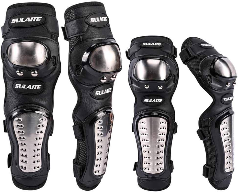 Hlyjoon 2Pcs Rodilleras de Motocicleta Acero Inoxidable Moto Equipo de Protecci/ón Rodillera Transpirable Antideslizante Brace Rodillas Codo Espinilleras Armadura Set para Moto Racing Dirt Bike ATV