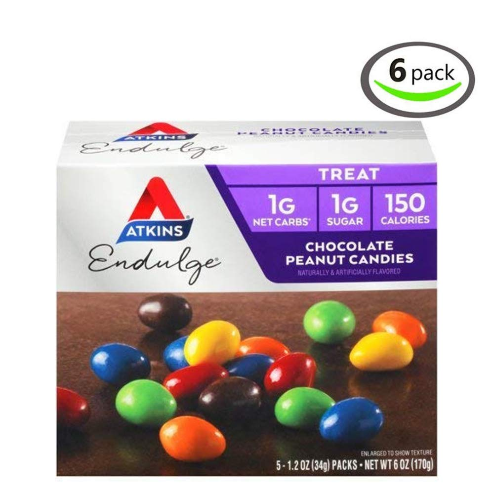 Atkins Endulge Treat, Chocolate Peanut Candies, Keto Friendly, 1.2 ounce, 5 ct - Pack of 6 by Atkins