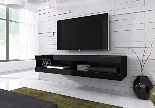 floating tv unit cabinet stand volant 150 cm body matt black front black high