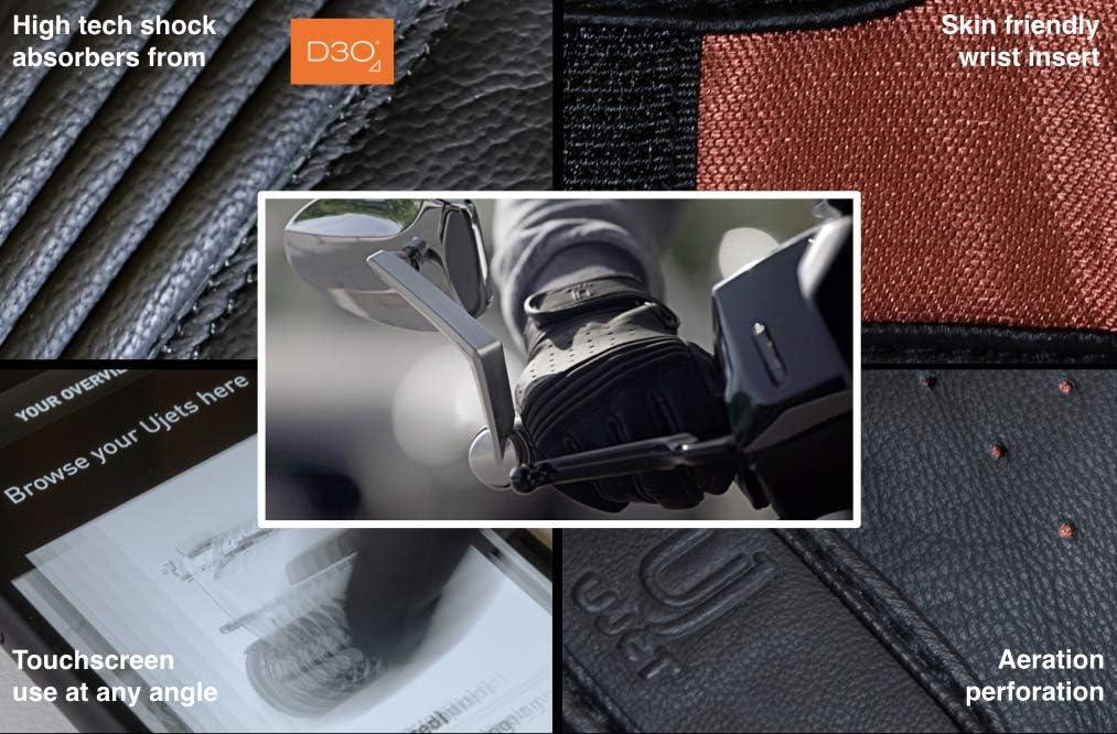 S ideali per uso touchscreen moto e motocicli UJET Guanti in pelle da uomo e unisex scooter