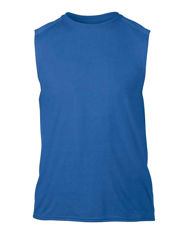 Gildan Performance Mens Sleeveless T-Shirt Adult Crew Round Neck Tee Shirt Boys Sports Gym Training Running Vest Mens Slim Fit Sportswear Adult Vest Tops
