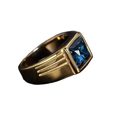 fa9816a052151b Boansi Men Rings Personality Fashion Men's Titanium Steel Gemstone Ring:  Amazon.co.uk: Jewellery