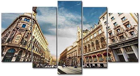 5 Panel de pared lienzo ciudad Madrid España Cielo Nubes gente hombre mujer señal signos impresiones sobre lienzo el ciudad fotos aceite para decoración de la casa moderna decoración de impresión: Amazon.es: