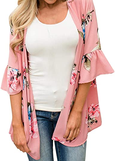 donne manica lunga aperto avanti lungo maxi chiffon Cardigan Kimono