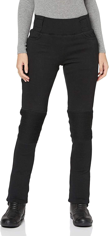 JET Pantalones Moto Motocicleta Mujer Legging Refuerzo de Aramida Kevlar Corte Delgado Ultra Estiramiento Protectores de cadera y rodilla LUNA EU 36 - Regular, Negro