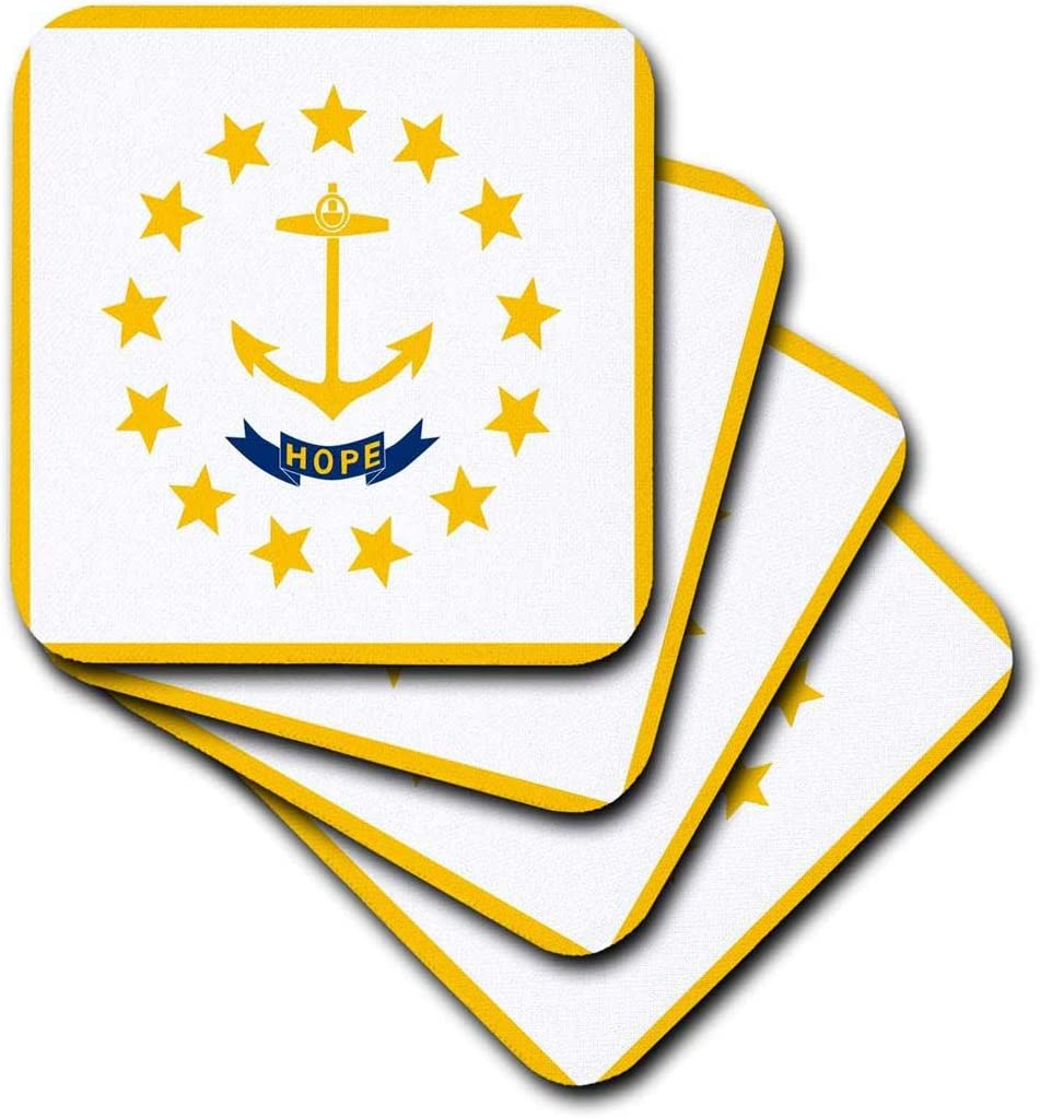 3dRose CST_158416_3 Flag of Rhode Island Ri Us American United State of America USA Yellow Anchor Hope on White Ceramic Tile Coasters, (Set of 4)