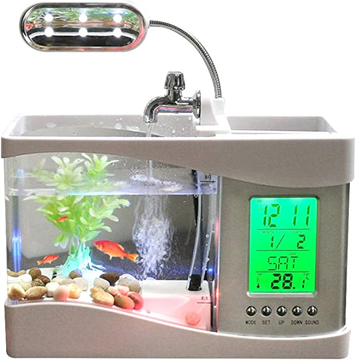 Docooler USB Desktop Mini Fish Tank Aquarium with LED Clock (White)