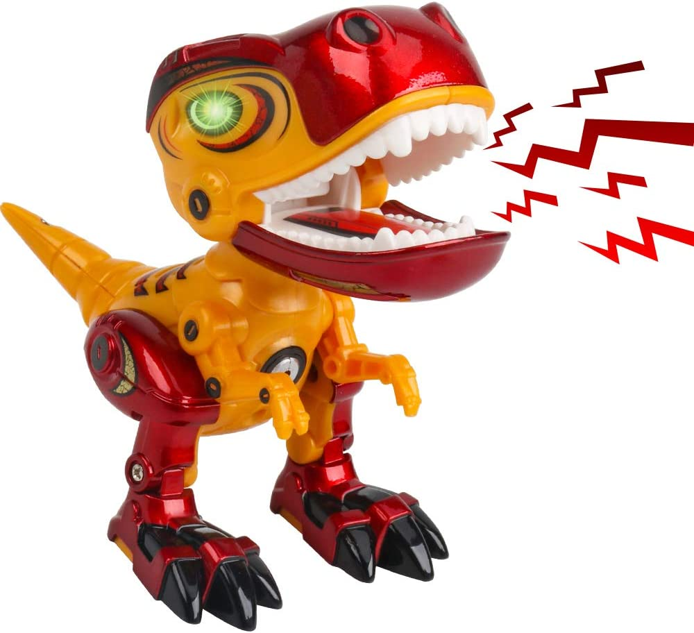 Vanskee Alloy Material/Dinosaur Toys for Kids Mini Tyrannosaurus Rex with Rotating Body Roaring Sound and Glowing Eyes Die-cast Dinosaur Toys for Boys Girls