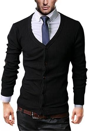 Kayhan Hombre Camisa Slim Fit Modello Cardigan