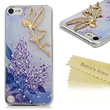 Touch 5 Case,Ipod 5 Case - Mavis's Diary® 3D Handmade Bling Crystal Golden Butterfly Fairy Pretty Purple Flowers Pattern with Shiny Sparkle Diamonds Clear Cover Hard Case for iPod Touch 5th Generation