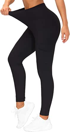 Women's Ribbed Fabric High Waist Yoga Pants with Cargo Pocket Tummy Control Hiking Leggingsfor Workout, Running