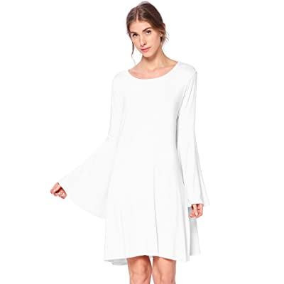 12 AMI Bell Sleeve Loose Flowy T-Shirt Midi Dress (S-XXXL) - Made in USA at Women's Clothing store