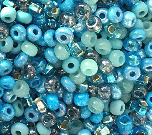 Sapphire Seed Pearl (Czech Seed Beads 6/0 ''Aquamania'' Mix Turquoise Green, Aqua & Sapphire Blue (1 Ounce))