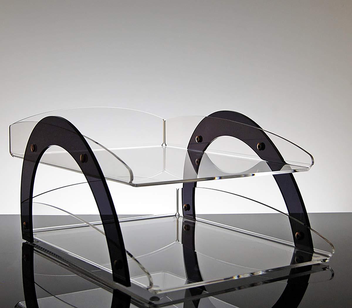 Vaschetta porta documenti e corrispondenza da scrivania per ufficio a due scomparti in plexiglass Spica Slato
