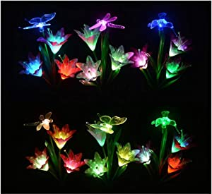6 Pack Butterfly Lily Flower -Garden Solar Lights Outdoor, LED Color Changing Stake Lights, Solar Powered Optic Fiber Decorative Lighting, Yard Art, Garden Decorations, Housewarming Gifts.