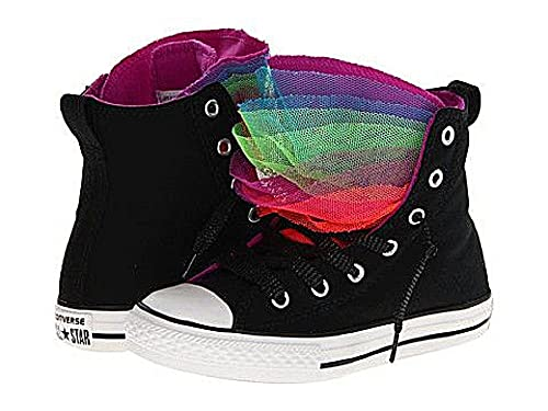 bb4e0b8ccd2daf Converse Girls Chuck Taylor All Star Party Hi Canvas Black Purple Multi  Tongue (11