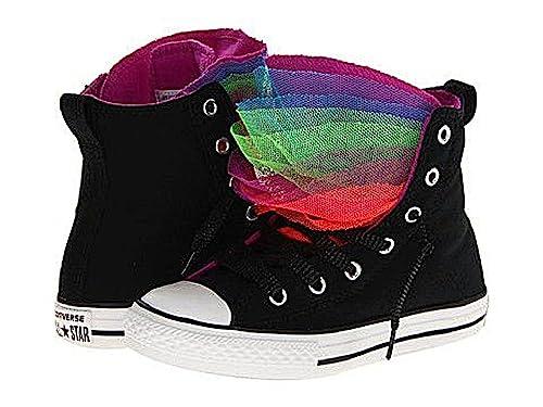 d8581ff26df0 Converse Girls Chuck Taylor All Star Party Hi Canvas Black Purple Multi  Tongue (11