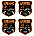 "4 Pcs Heart-stirring Unique Warning 24 Hour Cellular Video Alarm Monitoring Security Sticker Signs 24Hr Home Being Watched Fence Property Outdoor Hr Surveillance Decals House Neighbor Size 3.5""x4"""