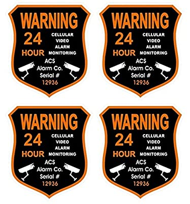 """4 Pcs Heart-stirring Unique Warning 24 Hour Cellular Video Alarm Monitoring Security Sticker Signs 24Hr Home Being Watched Fence Property Outdoor Hr Surveillance Decals House Neighbor Size 3.5""""x4"""""""