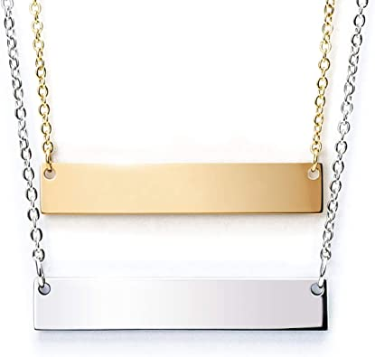 Custom Necklace chain 18 inch Horizontal Bar Necklace Personalized Necklace