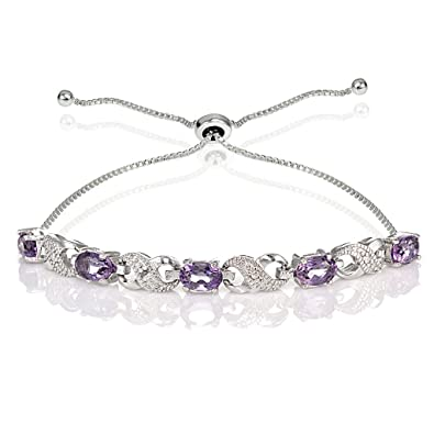 b6525f48b Ice Gems Sterling Silver Genuine Amethyst Infinity Adjustable Bracelet