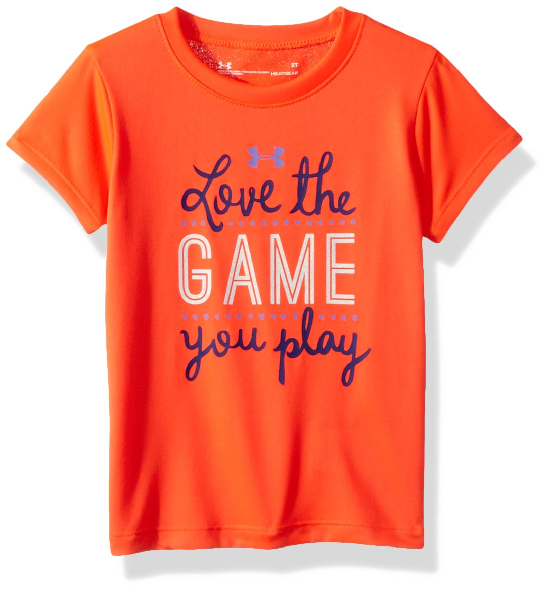Under Armour Little Girls' Love The Game You Play Short Sleeve T-Shirt, Neon Coral, 5