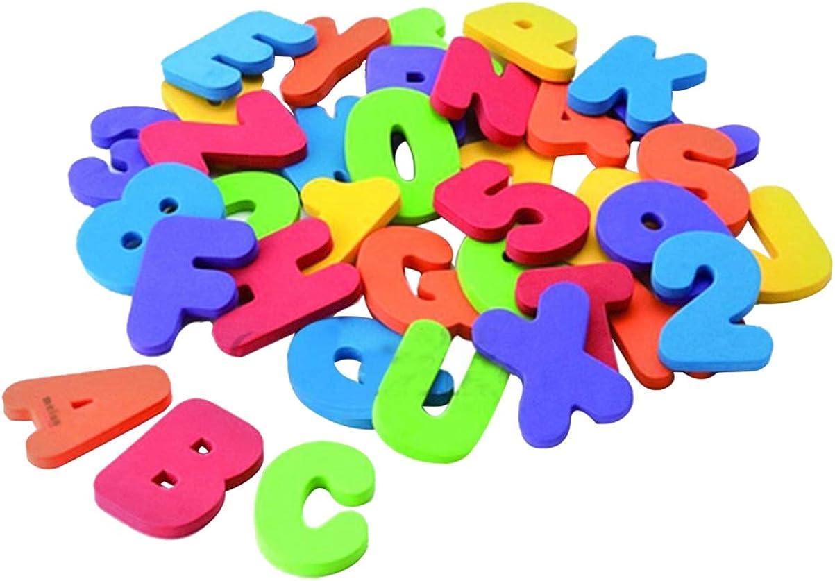 NUOBESTY 36 Piezas Juguetes de Ba/ño de Espuma Letras N/úmeros Organizador de Juguetes de Ba/ño Alfabeto Espuma Educativa Juguetes de Ba/ño de Agua para Beb/és para Ni/ños Peque/ños