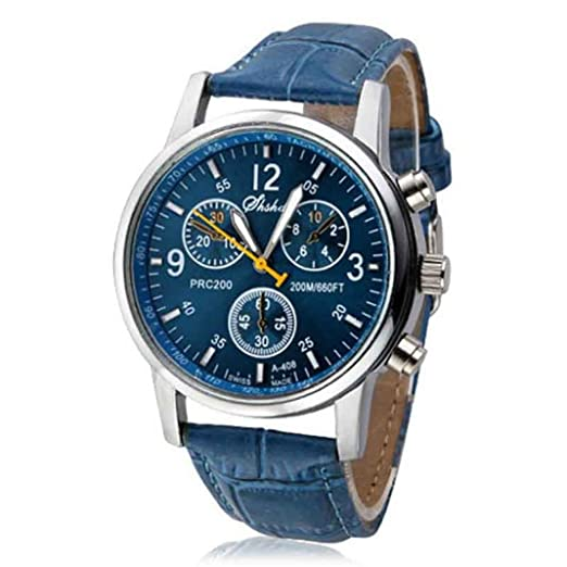 FAMILIZO Cocodrilo de imitación de cuero para hombre del reloj análogo azul de los relojes: Amazon.es: Relojes
