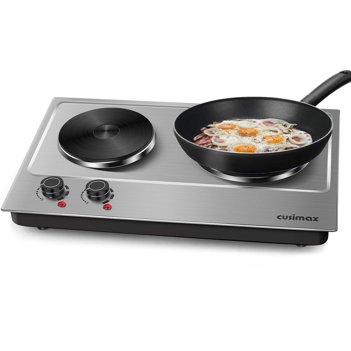 Cusimax 1800W Double Hot Plate, Stainless Steel Countertop Burner Portable Electric Double Burners Electric Cast Iron Hot Plates Cooktop, CMHP-C180 by CUSIMAX