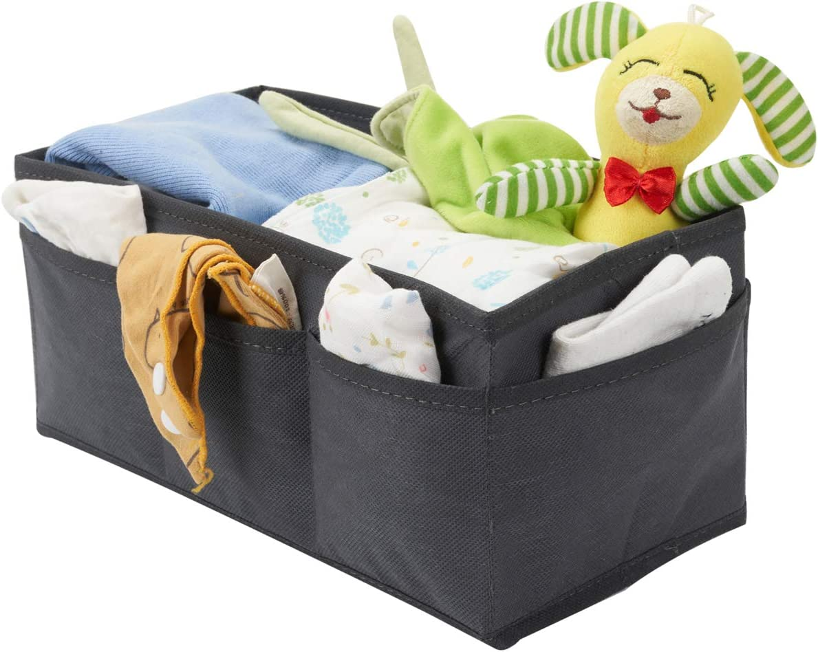 Miya-J Set of 5 Baby Room Organisers,Large Storage Box and Four Box With Two Layer Compartments for Nappies,Socks,Clothes,Wipes,Bibs Accessories etc