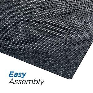 Basics Hardware Interlocking EVA Foam Tiles Puzzle Exercise Mat, Protective Flooring Gym Equipment Cushion Workouts (Black 6 Tiles) by Basics Hardware