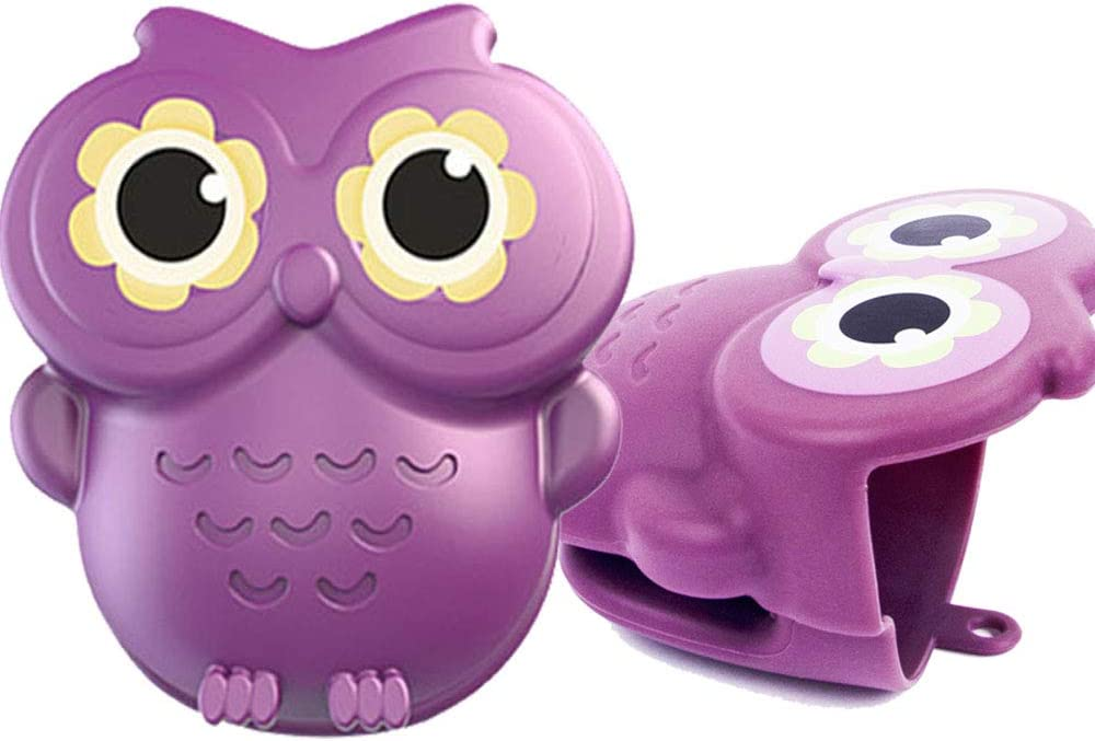 2PCS Mini Owl Gloves Funny Silicone Microwave Oven Mitts for Heat Resistant Cooking Finger Protector Pinch Insulation Pads Mit Kitchen Ornament Baking