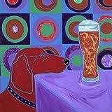 Dog with Beer Tile Art Coaster, Kandinsky Design, Dog Lover Gift by Angela Bond Art