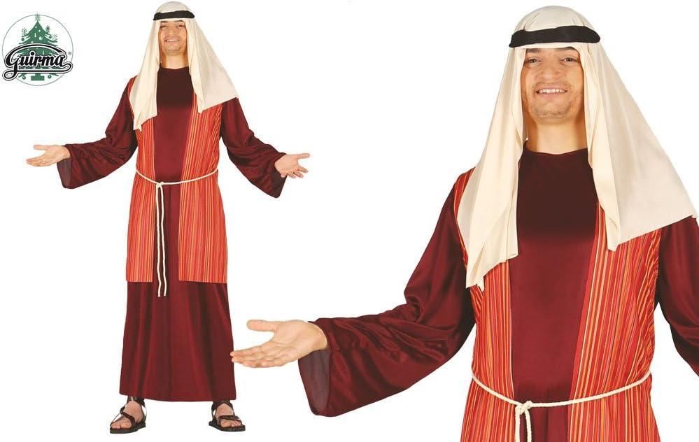 GUIRMA - Disfraz Pastor Belén Vivente, Color marrón/Rojo/Beige, Talla única Adulto, 42417