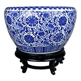 TransSino Treasures Large Porcelain Fish Bowl with Wooden Stand with Floral Design and Decorative Patterns 21'' Diameter