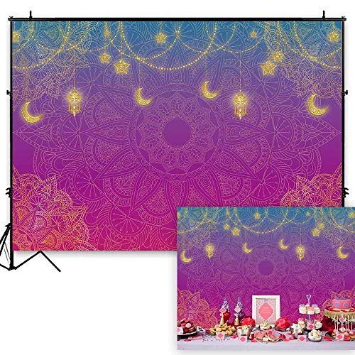 Funnytree 7x5ft Magic Genie Theme Party Backdrop Egyptian Moroccan Arabian Nights Indian Bollywood Photography Background Princess Girl Baby Shower Birthday Cake Table Decoration Photo Booth -