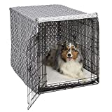 """Midwest Homes for Pets CVR42T-GY Dog Crate Cover, Gray Geometric Pattern, 42"""""""