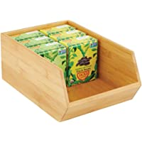 mDesign Bamboo Stackable Food Storage Organization Bin Basket - Wide Open Front for Kitchen Cabinets, Pantry, Offices…