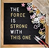 Changeable Letter Board SUPER BUNDLE - 10x10 Black Felt Message Board Sign With Wooden Frame 523 Characters: EMOJIS Icon Symbols in WHITE PINK and GOLD + Wood Stand Clippers and Two Drawstring Bags
