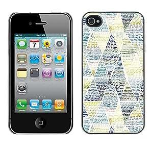 LASTONE PHONE CASE / Carcasa Funda Prima Delgada SLIM Casa Carcasa Funda Case Bandera Cover Armor Shell para Apple Iphone 4 / 4S / Cool Art Pattern Blue Yellow
